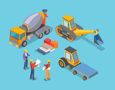 Construction machinery, concrete mixer and workers vector. People working with building development. Transports and automated constructing devices
