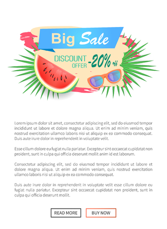 Summer Watermelon Discount Vector Illustration Illustration
