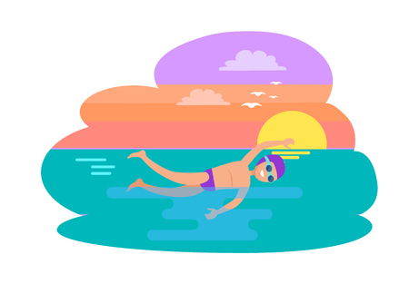 Butterfly stroke swimming style. Man practicing in evening, sunset on sea. Professional experienced swimmer exercising, seagull flying in sky vector