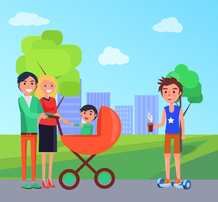 Student in park and family with pram walking on city roads vector. Young person with cup of hot beverage coffee riding scooter self balancing board  イラスト・ベクター素材