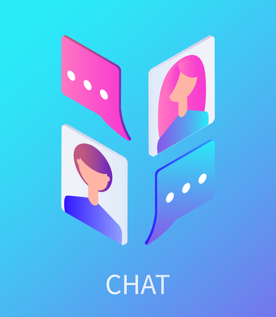 Chat female and male avatars isolated icons set vector. People using social networks and media to chat and speak. Communication and bubble chat box Illustration