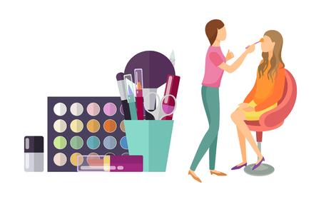 Visage Make-up Visagist professionelle isolierte Icons Vektor. Spiegel und Pinsel, Foundation und Lotionen, Lidschatten- und Lippenstiftpalette für Kunden