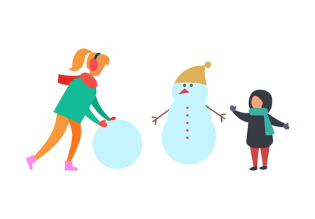 Winter holidays and fun family playing vector. Snowman with carrot nose wearing warm hat. Mother and kid, child making snow balls building big man Illustration