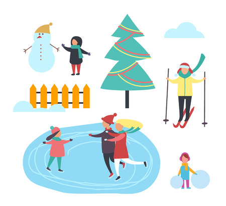Winter season kid with snowman, people having fun set vector. Person skiing and family skating on ice, child with balls of snow. Pine evergreen tree