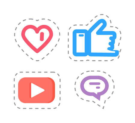 Like and Thumb Up Social Network Items Vector Illustration