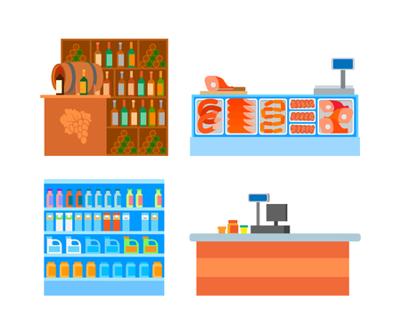 Supermarket departments counters food isolated set vector. Fridge with meat and meal, fat and pork, wine bar with alcoholic drinks and cashier desk