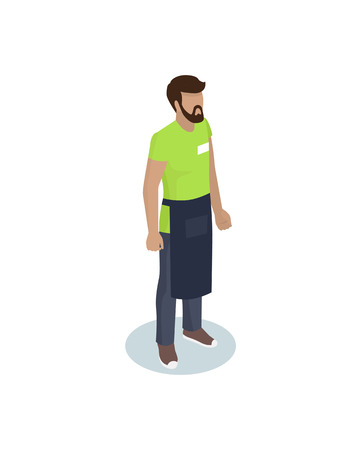Barmen or waiter in working overall with cover-slut and identity card isometric personage. Vector realistic miniature worker in standing pose isolated Фото со стока - 126213381