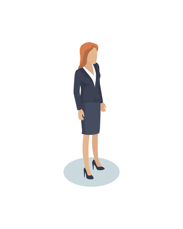 Businesswomen office employee director or assistant, manager or lead isometric miniature. Material female character in suit for flowsheet or poster. Foto de archivo - 126213384