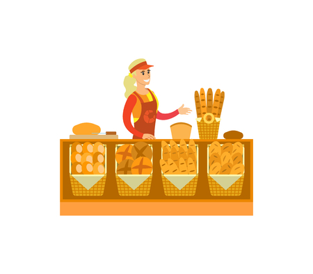 Supermarket store, bakery department with woman selling baked products vector. Bread and buns, baguettes variety, desserts and food made of wheat