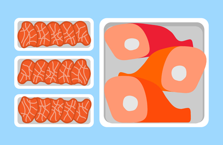 Meat steaks and chicken, lamb or pig legs in plastic tray, retail market. Butchery food in package vector icons in flat style, fresh organic products Foto de archivo - 115280023