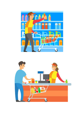 Supermarket cashier and merchandiser set vector. Counter and client buying food and grocery products. Male arranging bottles milk and juice packages Illustration