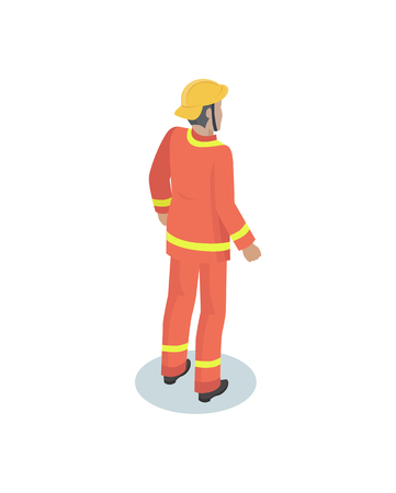 Fireman in uniform, working concept vector icon. Standing man from back, in crash helmet and flameproof jacket and trousers, cartoon style emblem