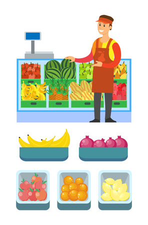 Supermarket worker man male with fruits vector. Shelves with banana, watermelon and ripe apples, pineapple citrus lemon and oranges in containers