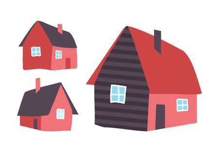 Houses Made of Wood, Homes Isolated Icons Vector