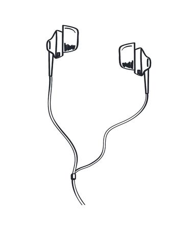 Casque musique écoute casque monochrome croquis contour vectoriel dessin au trait. Icône d'écouteurs avec sons de câble et mélodie sortant d'un accessoire portable