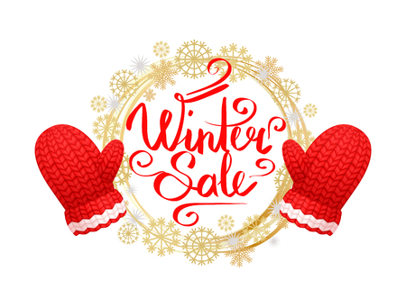 Winter sale poster with wreath made of snowflakes, knitted gloves in red and white color. Woolen mittens realistic outfit gauntlet, warm wintertime accessory 矢量图像