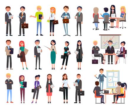 Geschäftstreffen, Leuteseminarbüroangestellter Vektor. Geschäftsmann und Geschäftsfrau, Person, die formelle Anzüge und Aktentaschen trägt. Mitarbeiterkonferenz Vektorgrafik