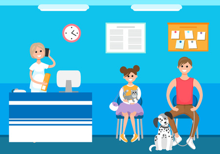 Veterinary clinic reception appointment of patients vector. People at animal hospital, care and treatment of domesticated mammals, cats and dogs cure Illustration