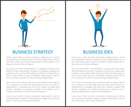 Business strategy and innovative idea of businessman vector. People presenting project details, increasing chart and growing pointers. Lightbulb sign