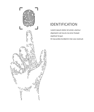 Identification poster monochrome vector with text. Fingermark and information, digital method of authentication and recognition of scanning thumbprints