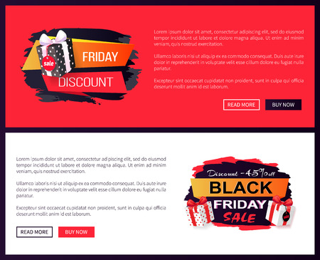 Black Friday sale off promo stickers, advertising coupons with gift boxes. Wholesale price tags icons in dark and red, packages on online sites templates Ilustracja
