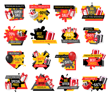 Exclusive products, hot sale discounts offers vector. Basket with gifts boxes, clearance and promotion, exclusive products sellout. Shop proposals 일러스트