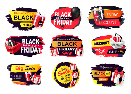 Discount and offer on black friday autumn holiday vector. Banners with presents boxes and gifts, balloon and basket with bought items. Price reduction