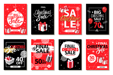 Christmas sale, discounts on winter holiday set vector. Marketing and promotion of exclusive products. Deals and offers of shops, sellout of goods