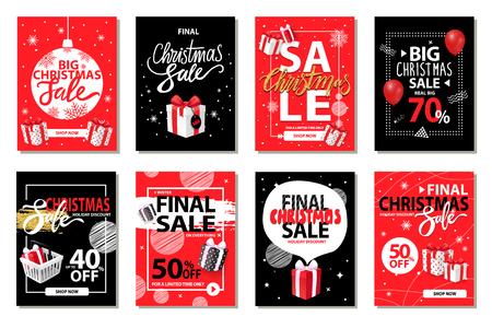 Venta de Navidad, descuentos en vector set de vacaciones de invierno. Comercialización y promoción de productos exclusivos. Ofertas y promociones de tiendas, liquidación de mercancías.