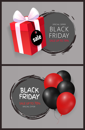 Black Friday sale, bunch of helium air balloons and gift box, wrapped in dotted paper, discounts vector. Special offer up to 70 percent off round labels  イラスト・ベクター素材