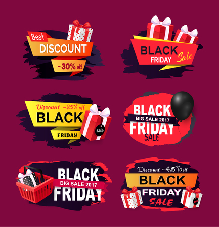 Black Friday offers and sales banners gifts set vector. Sellout of exclusive products with reduction of price, gifts and inflatable balloons clearance 向量圖像