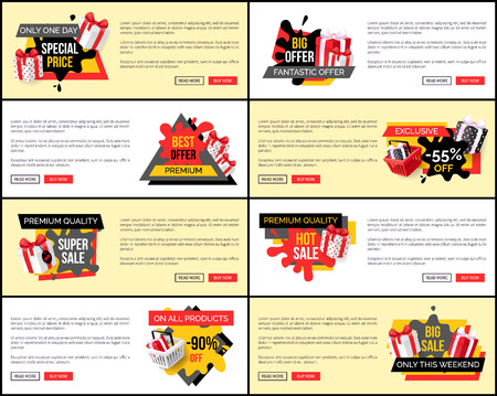 Only one day fantastic offer, reduction of price web pages set vector. 90 Percent reduced cost of premium product. Clearance promotion on holiday Illustration