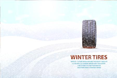 Afdrukken achtergelaten op de grond door transportpostervector. Sneeuwweer en rubberitem, voertuig voor auto, merkteken van voertuigauto met indrukspoor