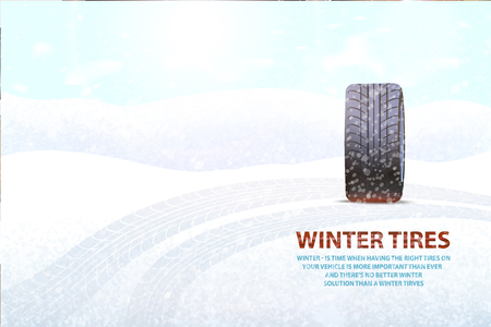 Imprints left on ground by transport poster vector. Snowing weather and rubber item, vehicle for automobile, mark of vehicle car with impress track Illustration