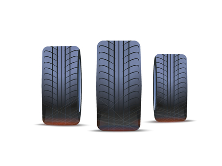 Tire of cars, winter and summer tyre isolated icons vector. Part of transport, automotive with rounded rubber items. Wheels with traces of vehicle 矢量图像
