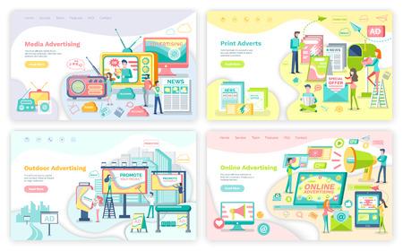 Servicios publicitarios, medios publicitarios. Anuncios impresos y en los medios de comunicación, pancartas en línea y al aire libre con ilustraciones vectoriales comerciales y de promoción Ilustración de vector