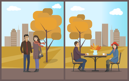 Cafe and dining, drinking coffee and hot tea in autumn park set vector. Man and woman sitting by table and talk, couple walking. Cityscape and trees  イラスト・ベクター素材
