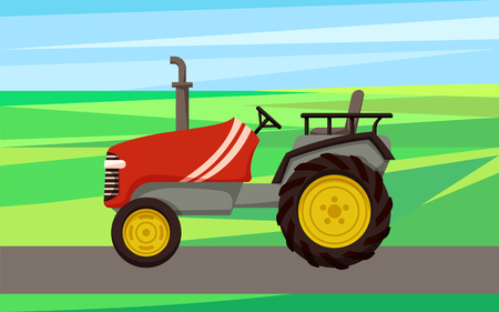 Tractor agrimotor machine vector. Agriculture and farm machine for cultivation. Farming vehicle driving on land field grass, agronomy auto mechanism