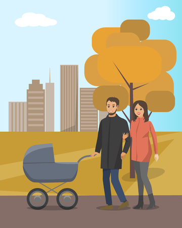 Autumn park and married couple walking with baby carriage. Mother next to father pushing pram, fall leaves on tree, skyscrapers vector illustration.