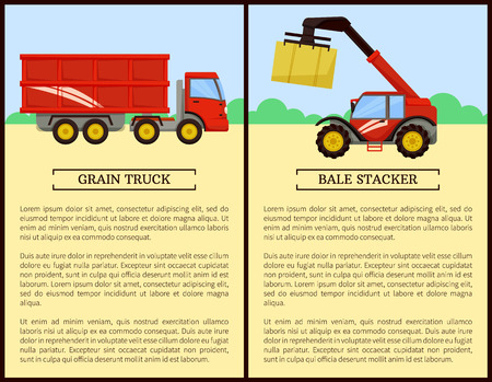 Agricultural machinery set cartoon vector banner. Grain truck with trailer and bale stacker with stack of hay, new equipment, farming technique poster