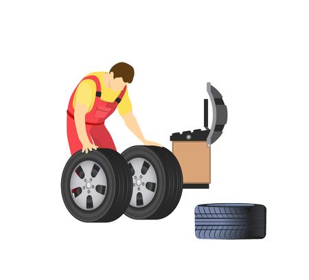 Service de réparation automobile. Roues et montage de pneus, mécanicien travaillant dans un atelier automobile isolé. Réparateur équilibrant ou changeant les pièces de rechange automatiques, vecteur
