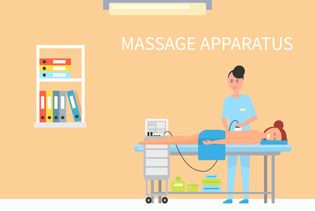 Massage treatment using special apparatus machine for skincare and relaxation. Masseuse and relaxing client, smiling female in spa salon interior vector