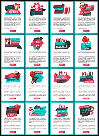 Productos exclusivos mega descuento, páginas web set vector. Sellout de tiendas, rebajas y ofertas, liquidaciones y propuestas especiales con precio reducido