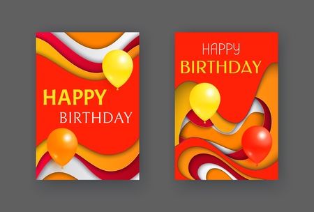 Happy Birthday decoration cards, greeting set isolated postcards vector. Decor with inflatable balloons celebration element and abstract background