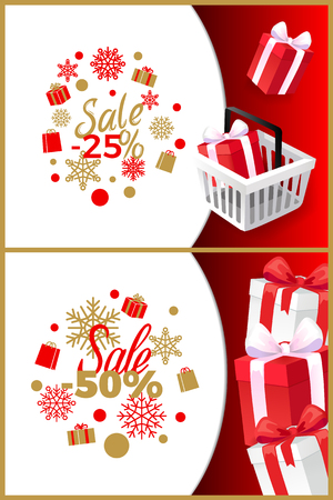 Christmas sale 25, 50 percent off, vector brochures with shopping cart, wrapped presents gift boxes. Cover with info about Xmas and New Year discounts