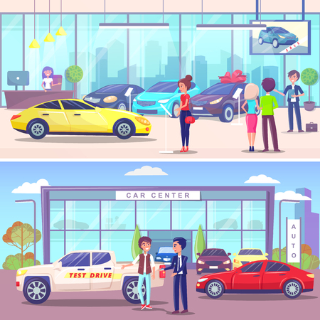 Car center buyer and manager, vehicle showroom vector. Dealer with client discussing test drive, automobile on sale. Customers in distribution shop Illustration