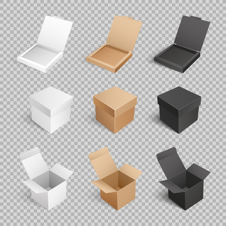 Containers templates vector icons. Boxes and packages made of paper and carton on transparent. Mockup of cardboards, delivery packs in realistic design Banque d'images - 126168627