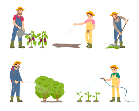 Farming people with sprayer isolated icons vector. Man watering aubergines, woman with hose and plants. Male spraying bushes, raking compost on soil Illustration