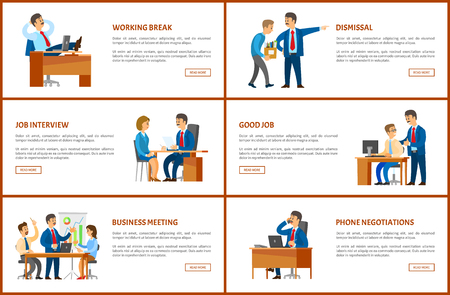 Meeting and break, dismissal and working order, phone negotiations and job interview vector posters set. Business and work, boss and employees at table