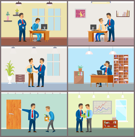 Boss supervising new workers at job, businessman working in office vector. Employer and employee, sacked unemployed person, charts and presentation Çizim